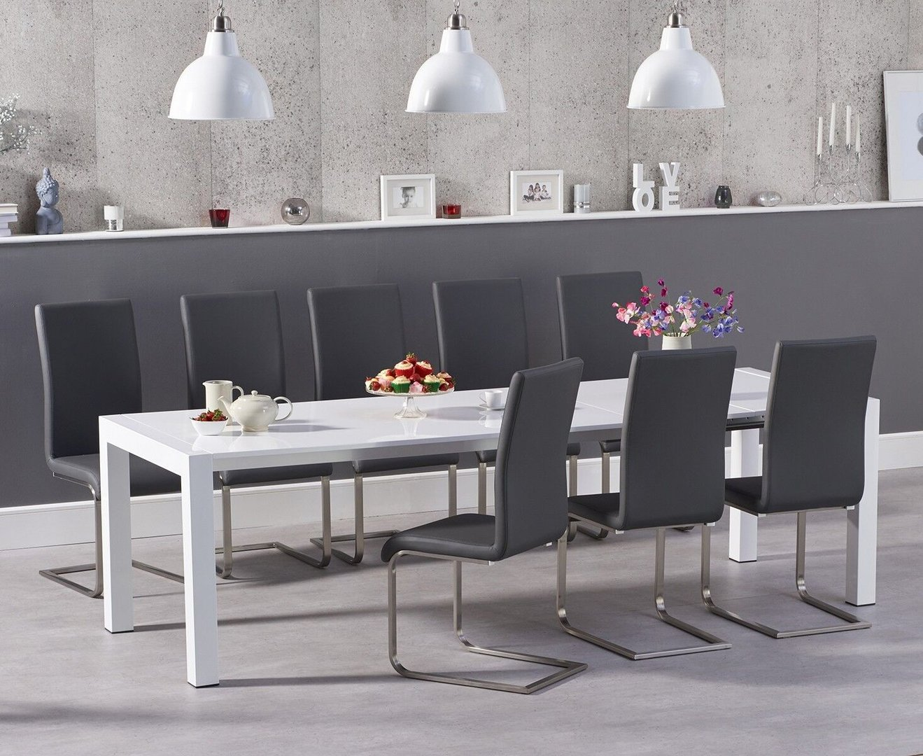 Picture of: 10 Seater White High Gloss Dining Table Grey Chairs Homegenies