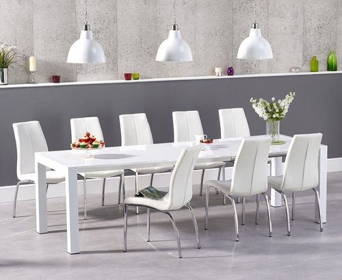 Extending white high gloss dining table and 10 chairs
