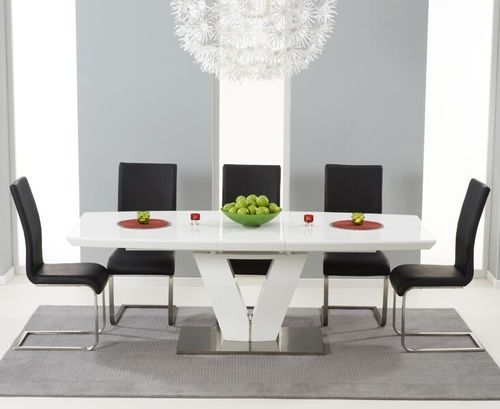 180-220cm white high gloss dining table and 8 black chairs