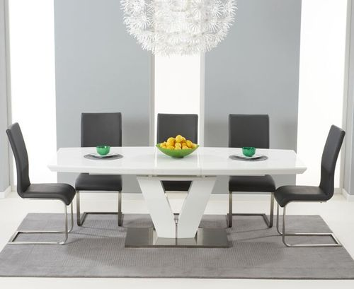 180-220cm white high gloss dining table and 8 grey chairs
