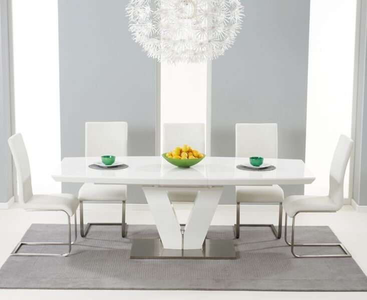180 220cm White High Gloss Dining Table And 8 Chairs Homegenies