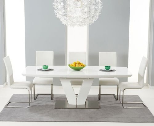 180-220cm white high gloss dining table and 8 chairs