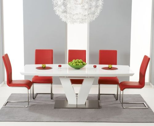 180-220cm white high gloss dining table and 8 red chairs