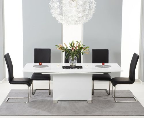 150-210cm white high gloss dining table and 8 black chairs