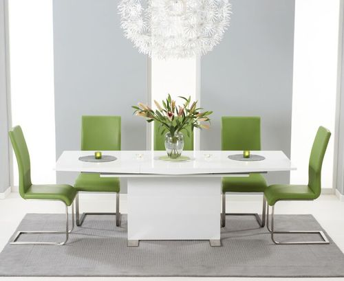 150-210cm white high gloss dining table and 6 green chairs