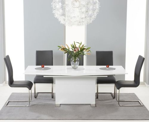 150-210cm white high gloss dining table and 6 grey chairs