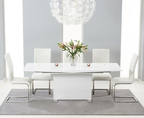 150-210cm white high gloss dining table and 8 white chairs