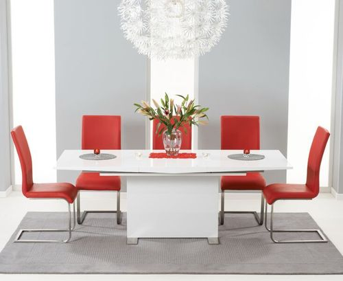 150-210cm white high gloss dining table and 6 red chairs