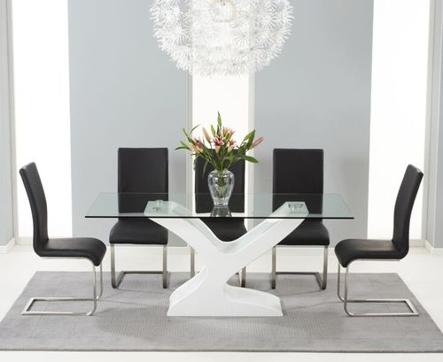 180cm Glass with high gloss dining table and 6 black chairs