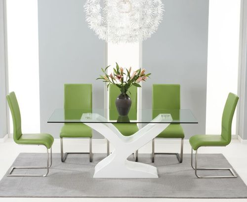 180cm Glass with high gloss dining table and 6 green chairs