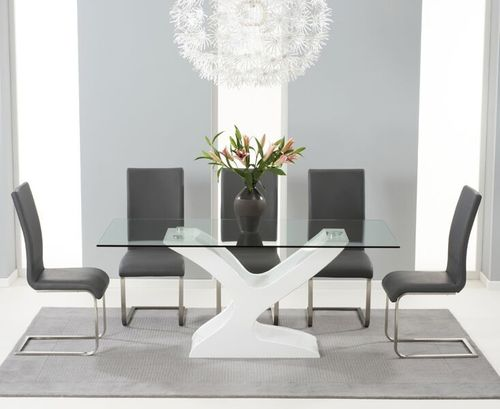 180cm Glass with high gloss dining table and 6 grey chairs