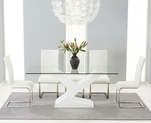 180cm Glass with high gloss dining table and 6 white chairs