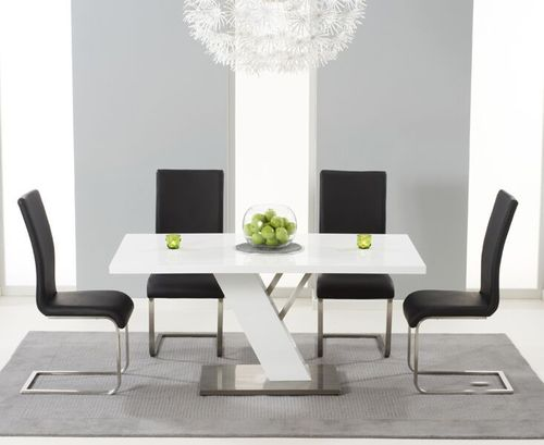 160cm white high gloss dining table with 6 black chairs