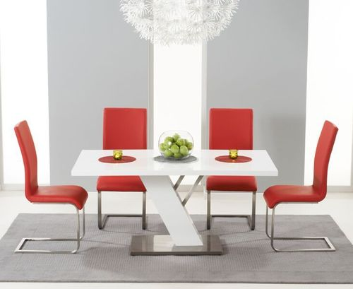 160cm white high gloss dining table with 6 red chairs
