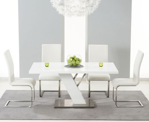 160cm white high gloss dining table with 6 white chairs