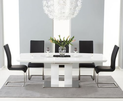 180-220cm White high gloss dining table with 8 black chairs