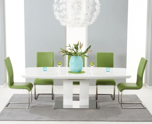 180-220cm White high gloss dining table with 8 green chairs