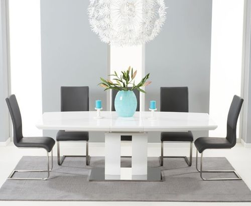 180-220cm White high gloss dining table with 8 grey chairs