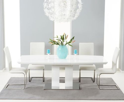 180-220cm White high gloss dining table with 8 white chairs