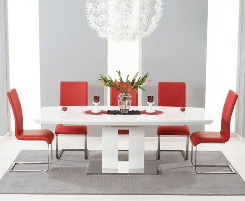 180-220cm White high gloss dining table with 8 red chairs