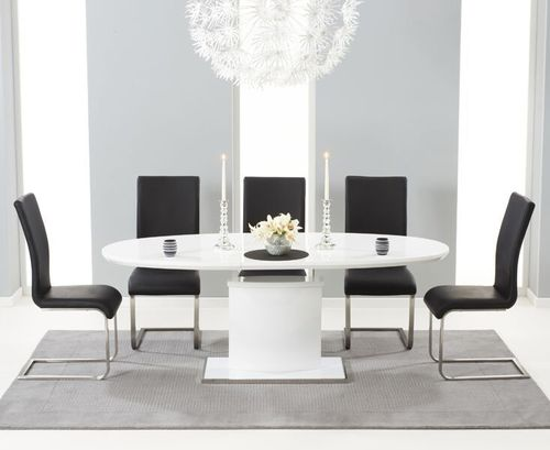 200cm Oval white high gloss dining table and 6 black chairs
