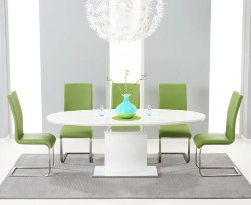 200cm Oval white high gloss dining table and 6 green chairs