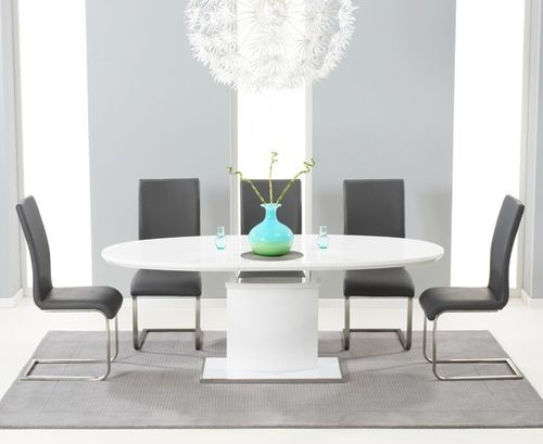 200cm Oval white high gloss dining table and 6 grey chairs