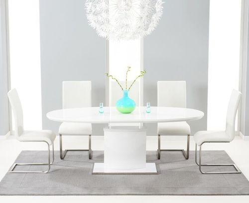 200cm Oval white high gloss dining table and 6 white chairs