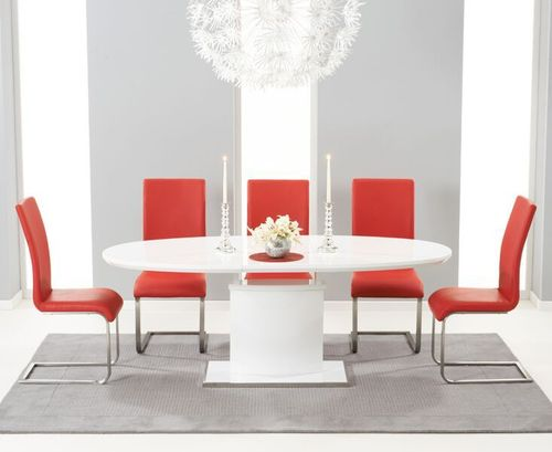 200cm Oval white high gloss dining table and 6 red chairs
