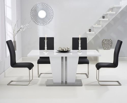 6 seater high gloss dining table set with black chairs