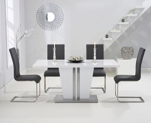6 seater high gloss dining table set with grey chairs