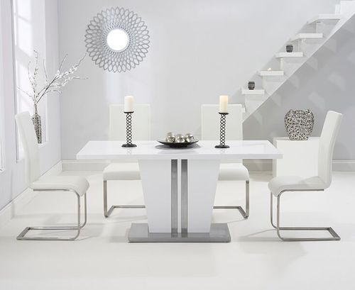 6 seater high gloss dining table set with white chairs