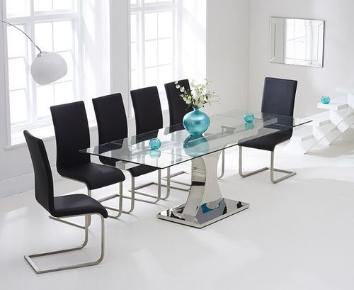 160-240cm Glass dining table and 8 black chairs