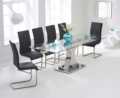 160-240cm Glass dining table and 8 grey chairs