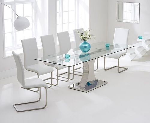 160-240cm Glass dining table and 8 white chairs