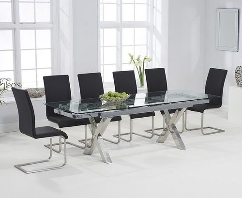 Extending 240cm glass dining table and 10 black chairs