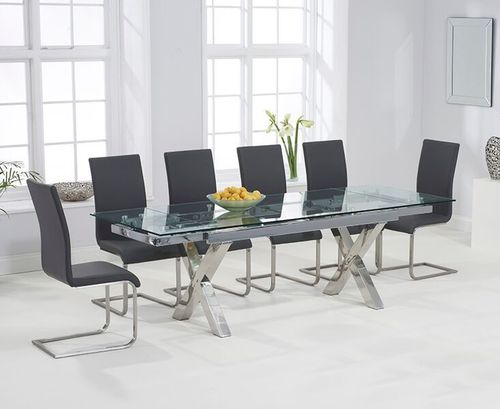 Extending 240cm glass dining table and 8 grey chairs