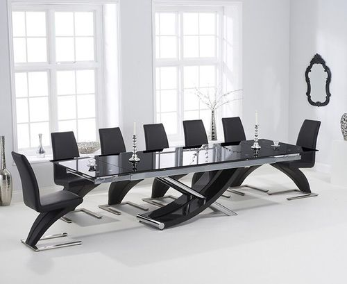 210-300cm Black glass dining table and 8 black z chairs