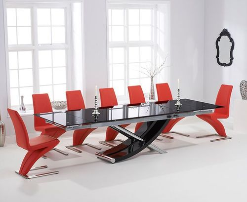 210-300cm Black glass dining table and 8 red z chairs