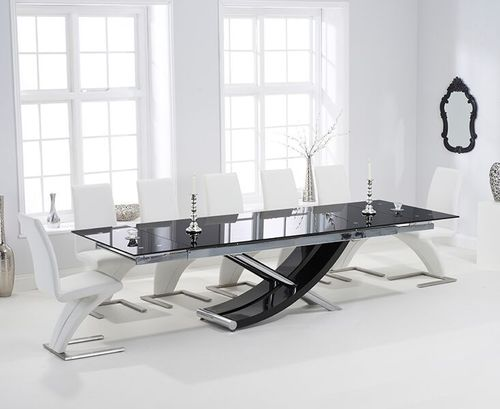 210-300cm Black glass dining table and 8 white z chairs