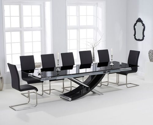 Extra large black glass dining table and 10 black chairs