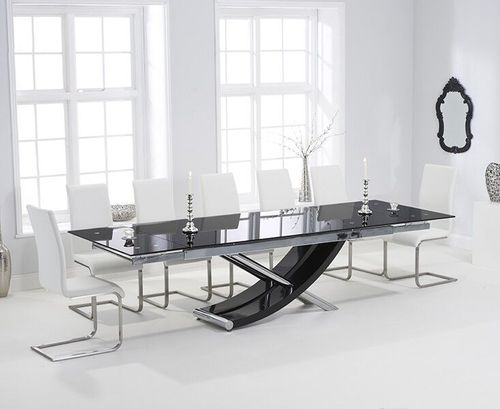 Extra large black glass dining table and 8 white chairs