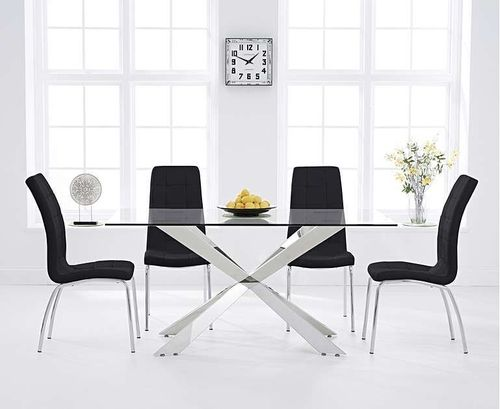160cm glass with steel dining table and 6 black chairs