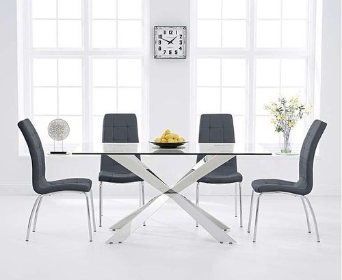 160cm glass with steel dining table and 6 grey chairs