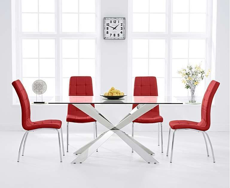 160cm Glass With Steel Dining Table 6 Red Chairs Homegenies