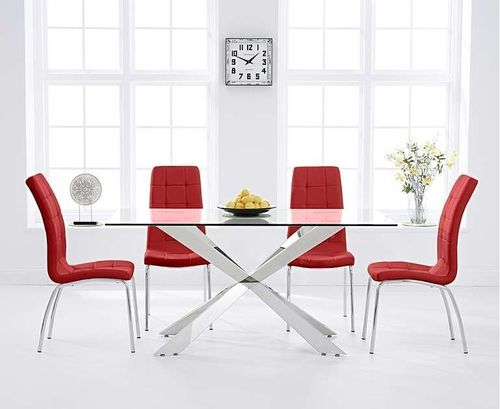 160cm glass with steel dining table and 6 red chairs