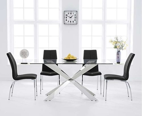 160cm clear glass dining table with 6 black chairs