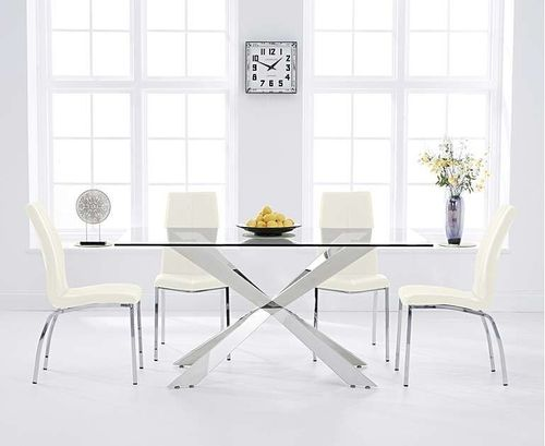 160cm clear glass dining table with 6 cream chairs
