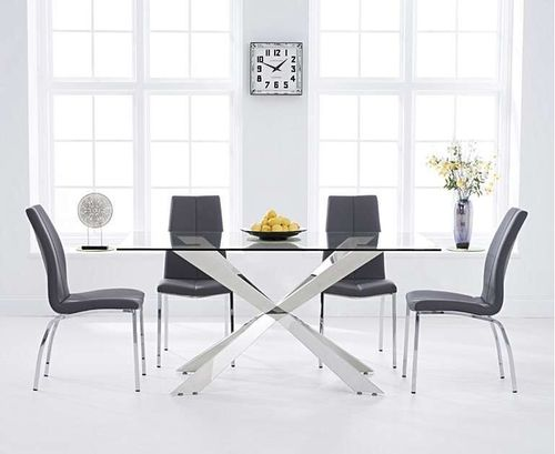 160cm clear glass dining table with 6 grey chairs