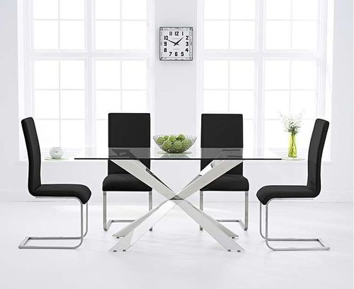 160cm glass dining table with 6 black chairs set